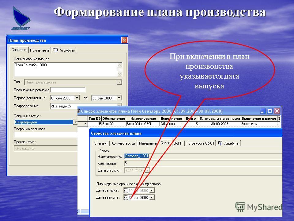 Формирование плана производства При включении в план производства указывается дата выпуска