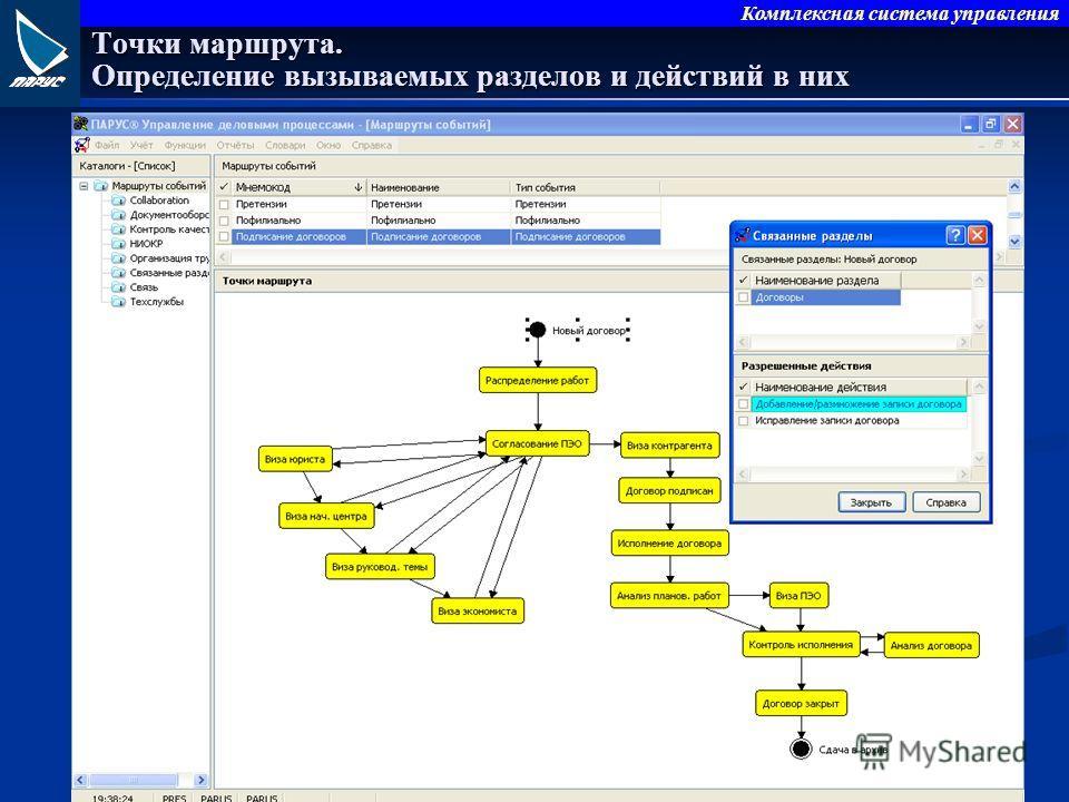 Комплексная система управления Точки маршрута. Определение вызываемых разделов и действий в них