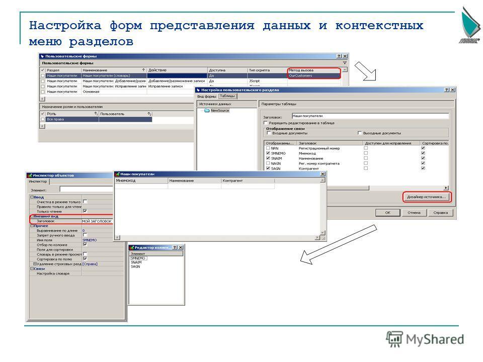 Настройка форм представления данных и контекстных меню разделов