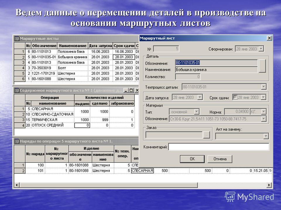Ведем данные о перемещении деталей в производстве на основании маршрутных листов