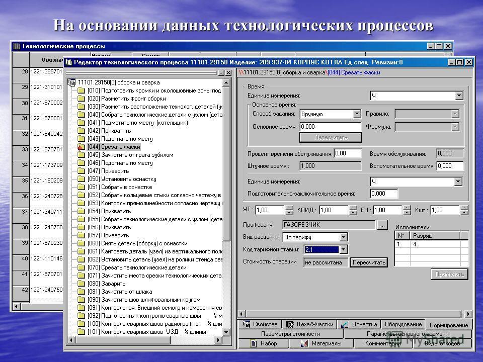 На основании данных технологических процессов