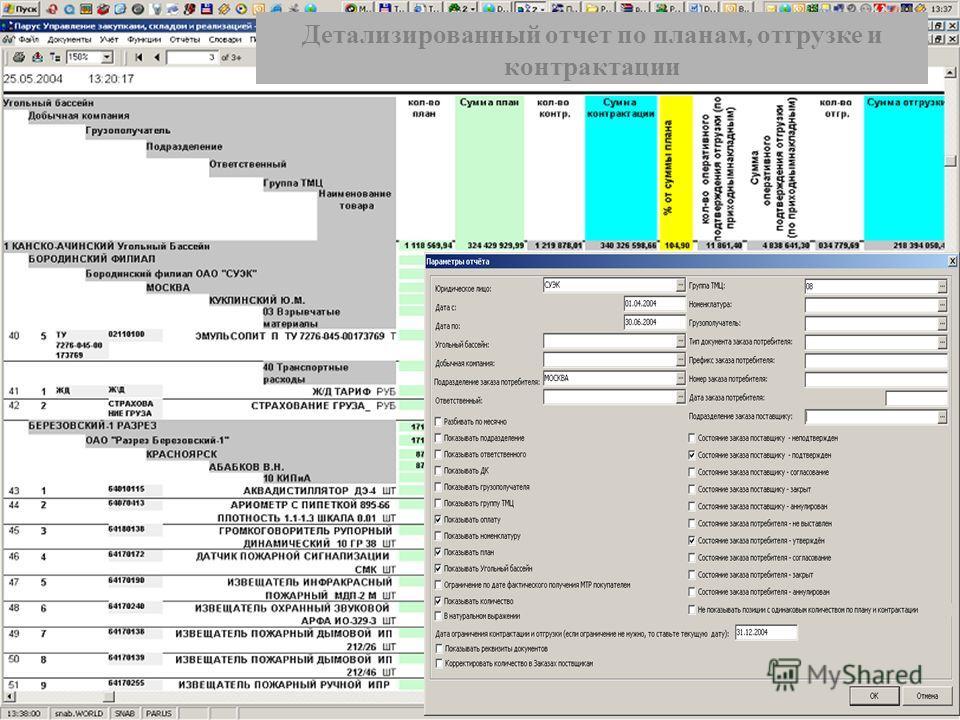 Детализированный отчет Детализированный отчет по планам, отгрузке и контрактации