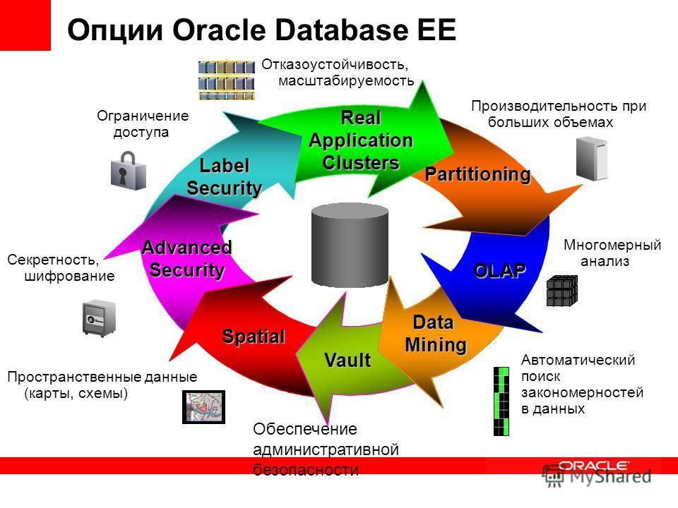 Опции Oracle Database EE Vault Real Application Clusters Partitioning DataMining OLAP Spatial LabelSecurity AdvancedSecurity Пространственные данные (карты, схемы) Многомерный анализ Ограничение доступа Секретность, шифрование Автоматический поиск за