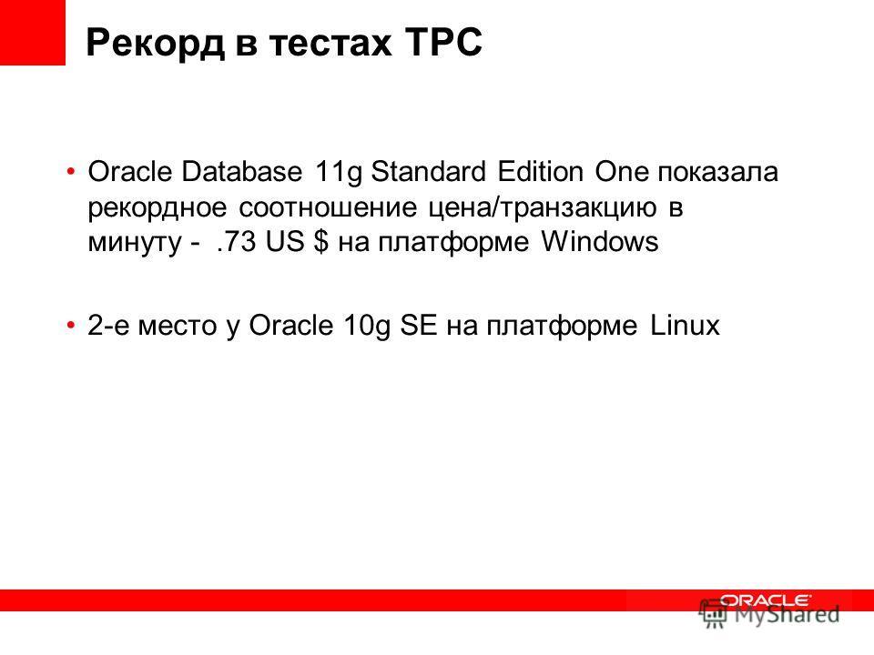 Рекорд в тестах TPC Oracle Database 11g Standard Edition One показала рекордное соотношение цена/транзакцию в минуту -.73 US $ на платформе Windows 2-e место у Oracle 10g SE на платформе Linux