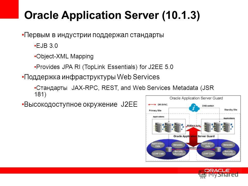 Первым в индустрии поддержал стандарты EJB 3.0 Object-XML Mapping Provides JPA RI (TopLink Essentials) for J2EE 5.0 Поддержка инфраструктуры Web Services Стандарты JAX-RPC, REST, and Web Services Metadata (JSR 181) Высокодоступное окружение J2EE Orac