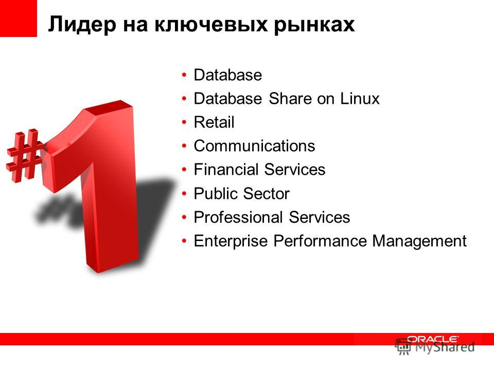 Лидер на ключевых рынках Database Database Share on Linux Retail Communications Financial Services Public Sector Professional Services Enterprise Performance Management