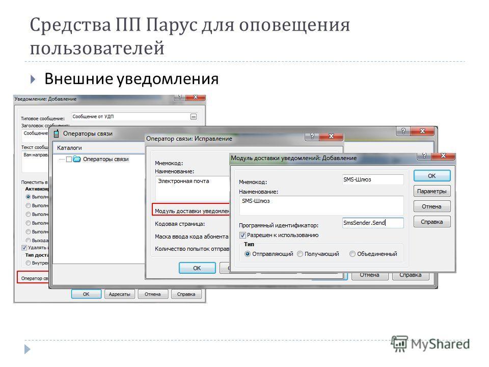 Средства ПП Парус для оповещения пользователей Внешние уведомления