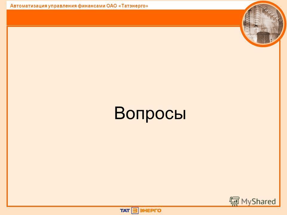 Автоматизация управления финансами ОАО «Татэнерго» Вопросы