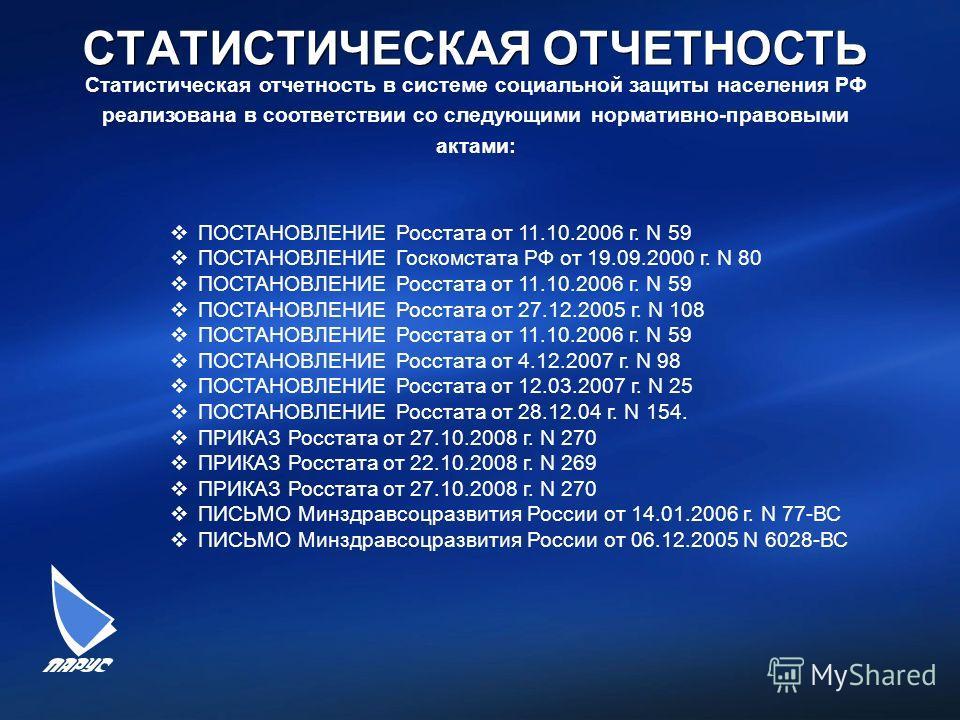 СТАТИСТИЧЕСКАЯ ОТЧЕТНОСТЬ ПОСТАНОВЛЕНИЕ Росстата от 11.10.2006 г. N 59 ПОСТАНОВЛЕНИЕ Госкомстата РФ от 19.09.2000 г. N 80 ПОСТАНОВЛЕНИЕ Росстата от 11.10.2006 г. N 59 ПОСТАНОВЛЕНИЕ Росстата от 27.12.2005 г. N 108 ПОСТАНОВЛЕНИЕ Росстата от 11.10.2006