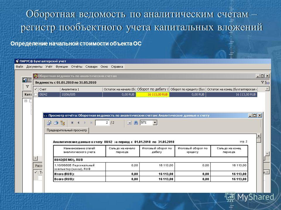 Оборотная ведомость по аналитическим счетам – регистр пообъектного учета капитальных вложений Определение начальной стоимости объекта ОС