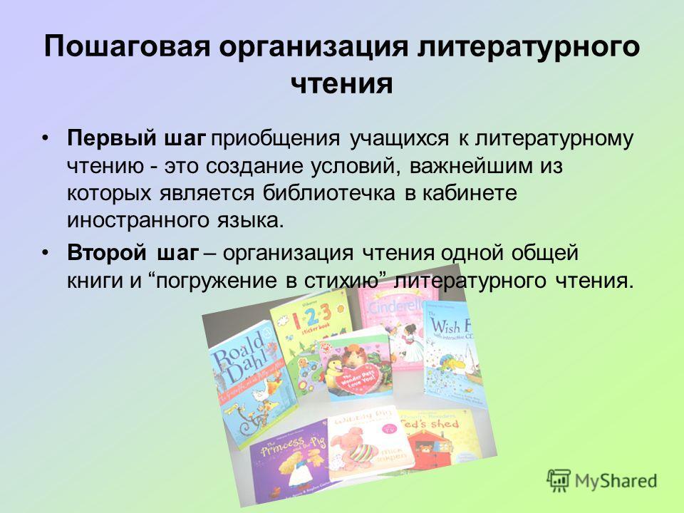 Пошаговая организация литературного чтения Первый шаг приобщения учащихся к литературному чтению - это создание условий, важнейшим из которых является библиотечка в кабинете иностранного языка. Второй шаг – организация чтения одной общей книги и погр