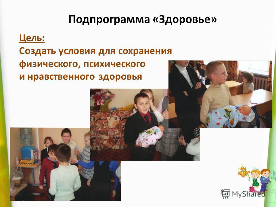 Подпрограмма «Здоровье» Цель: Создать условия для сохранения физического, психического и нравственного здоровья
