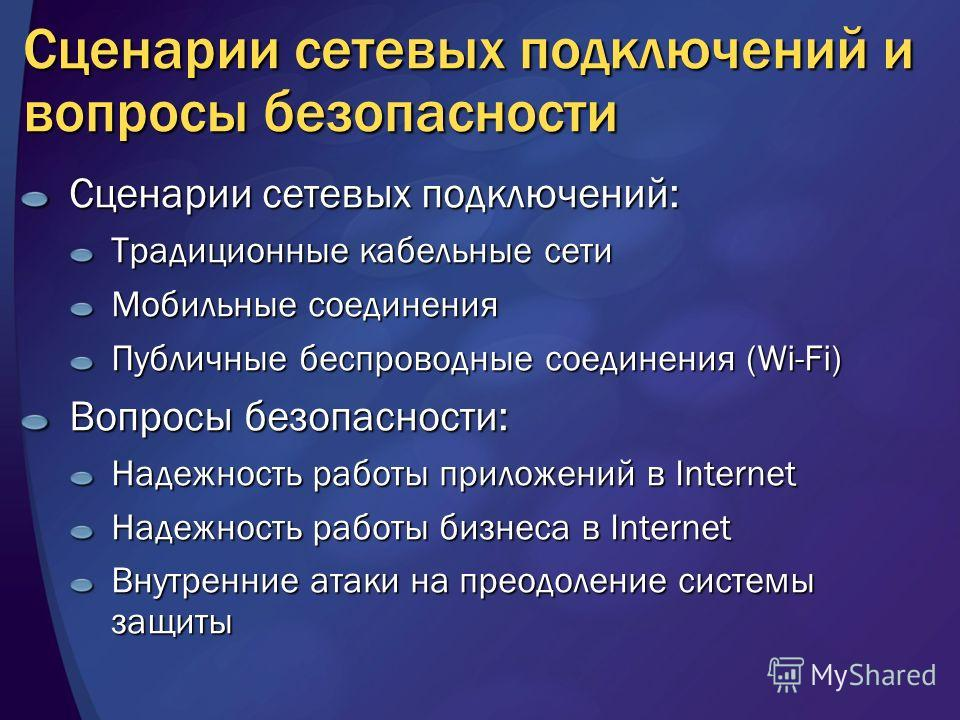 Сценарии сетевых подключений и вопросы безопасности Сценарии сетевых подключений: Традиционные кабельные сети Мобильные соединения Публичные беспроводные соединения (Wi-Fi) Вопросы безопасности: Надежность работы приложений в Internet Надежность рабо
