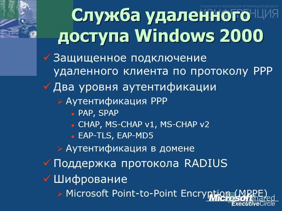 Служба удаленного доступа Windows 2000 Защищенное подключение удаленного клиента по протоколу PPP Два уровня аутентификации Аутентификация PPP PAP, SPAP CHAP, MS-CHAP v1, MS-CHAP v2 EAP-TLS, EAP-MD5 Аутентификация в домене Поддержка протокола RADIUS