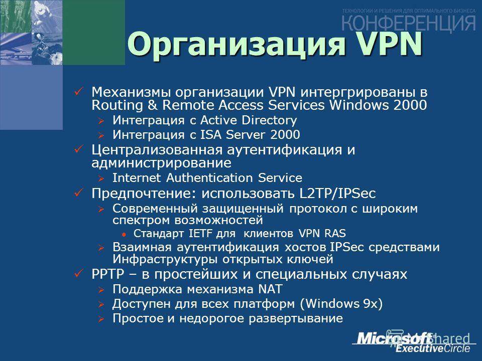 Организация VPN Механизмы организации VPN интергрированы в Routing & Remote Access Services Windows 2000 Интеграция с Active Directory Интеграция с ISA Server 2000 Централизованная аутентификация и администрирование Internet Authentication Service Пр