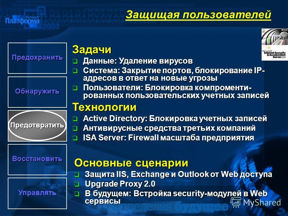 Задачи Данные: Удаление вирусов Данные: Удаление вирусов Система: Закрытие портов, блокирование IP- адресов в ответ на новые угрозы Система: Закрытие портов, блокирование IP- адресов в ответ на новые угрозы Пользователи: Блокировка компроменти- рован