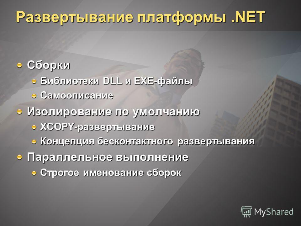 Развертывание платформы.NET Сборки Библиотеки DLL и EXE-файлы Самоописание Изолирование по умолчанию XCOPY-развертывание Концепция бесконтактного развертывания Параллельное выполнение Строгое именование сборок