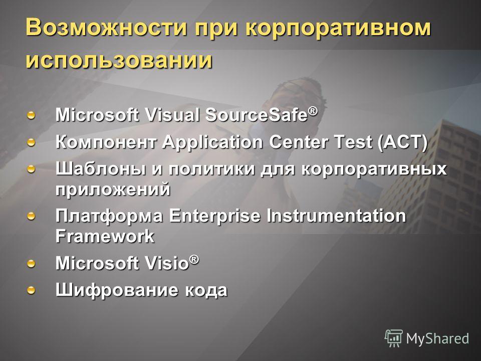 Возможности при корпоративном использовании Microsoft Visual SourceSafe ® Компонент Application Center Test (ACT) Шаблоны и политики для корпоративных приложений Платформа Enterprise Instrumentation Framework Microsoft Visio ® Шифрование кода