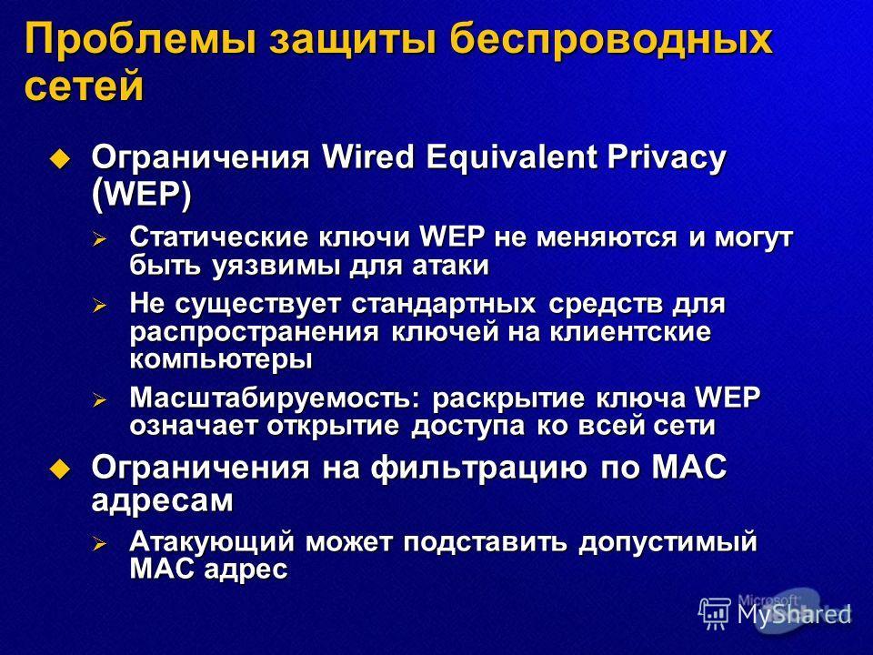 Ограничения Wired Equivalent Privacy ( WEP) Ограничения Wired Equivalent Privacy ( WEP) Статические ключи WEP не меняются и могут быть уязвимы для атаки Статические ключи WEP не меняются и могут быть уязвимы для атаки Не существует стандартных средст
