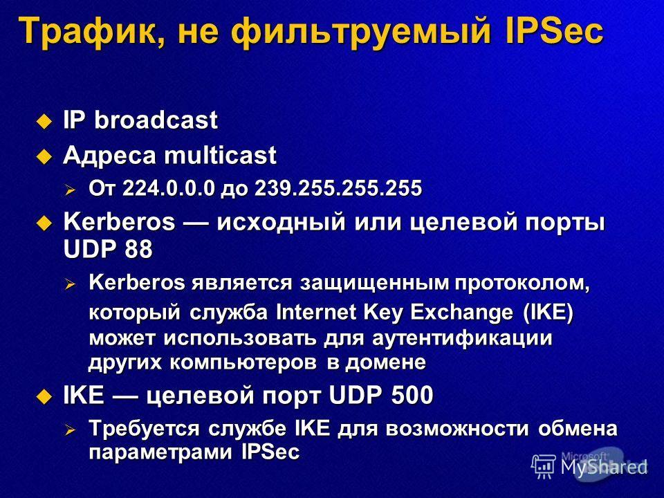 IP broadcast IP broadcast Адреса multicast Адреса multicast От 224.0.0.0 до 239.255.255.255 От 224.0.0.0 до 239.255.255.255 Kerberos исходный или целевой порты UDP 88 Kerberos исходный или целевой порты UDP 88 Kerberos является защищенным протоколом,