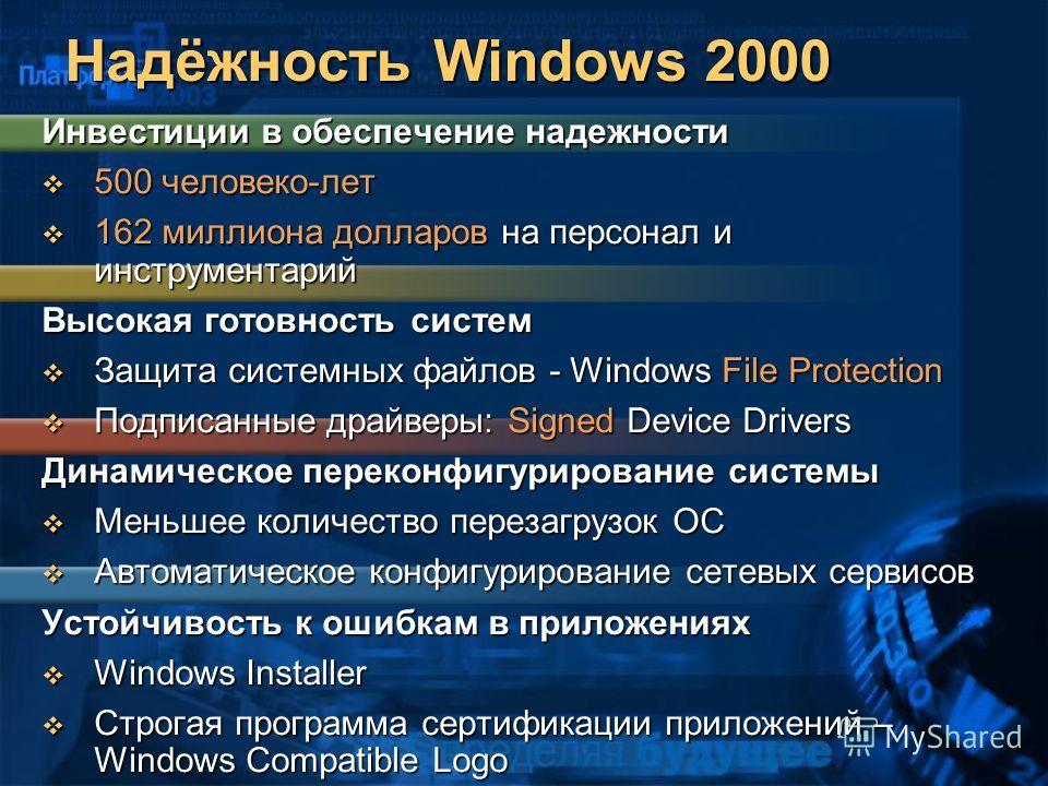 Надёжность Windows 2000 Инвестиции в обеспечение надежности 500 человеко-лет 500 человеко-лет 162 миллиона долларов на персонал и инструментарий 162 миллиона долларов на персонал и инструментарий Высокая готовность систем Защита системных файлов - Wi