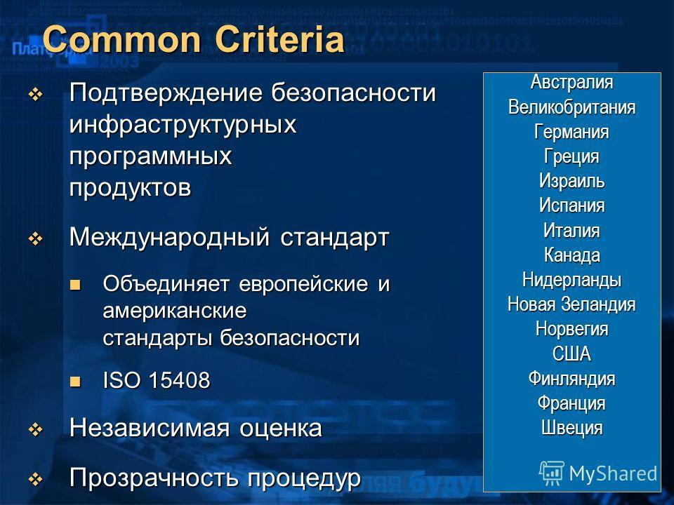 Common Criteria Подтверждение безопасности инфраструктурных программных продуктов Подтверждение безопасности инфраструктурных программных продуктов Международный стандарт Международный стандарт Объединяет европейские и американские стандарты безопасн