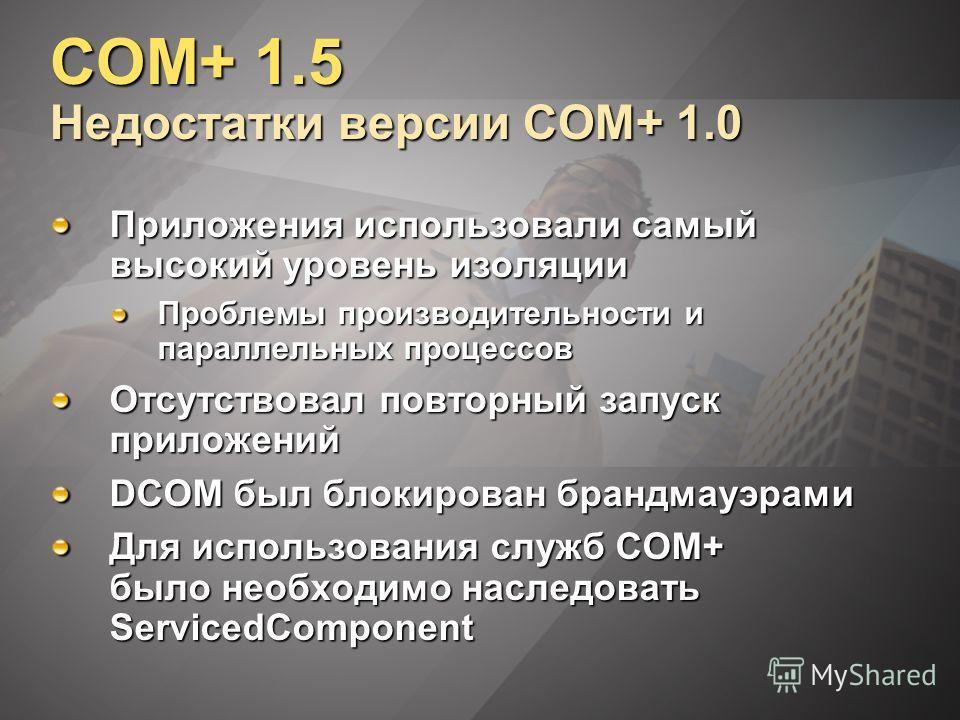 COM+ 1.5 Недостатки версии COM+ 1.0 Приложения использовали самый высокий уровень изоляции Проблемы производительности и параллельных процессов Отсутствовал повторный запуск приложений DCOM был блокирован брандмауэрами Для использования служб COM+ бы