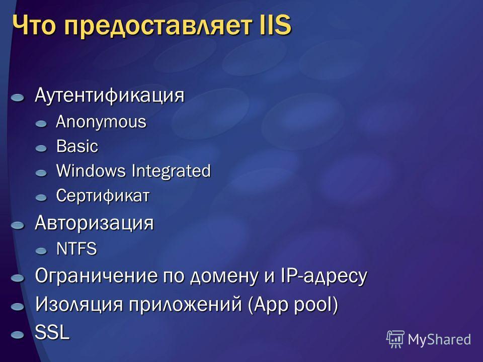 Что предоставляет IIS АутентификацияAnonymousBasic Windows Integrated СертификатАвторизацияNTFS Ограничение по домену и IP-адресу Изоляция приложений (App pool) SSL