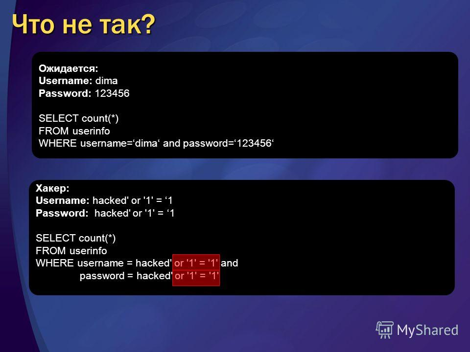 Хакер: Username: hacked' or '1' = 1 Password: hacked' or '1' = 1 SELECT count(*) FROM userinfo WHERE username = hacked' or '1' = '1' and password = hacked' or '1' = '1' Что не так? Ожидается: Username: dima Password: 123456 SELECT count(*) FROM useri