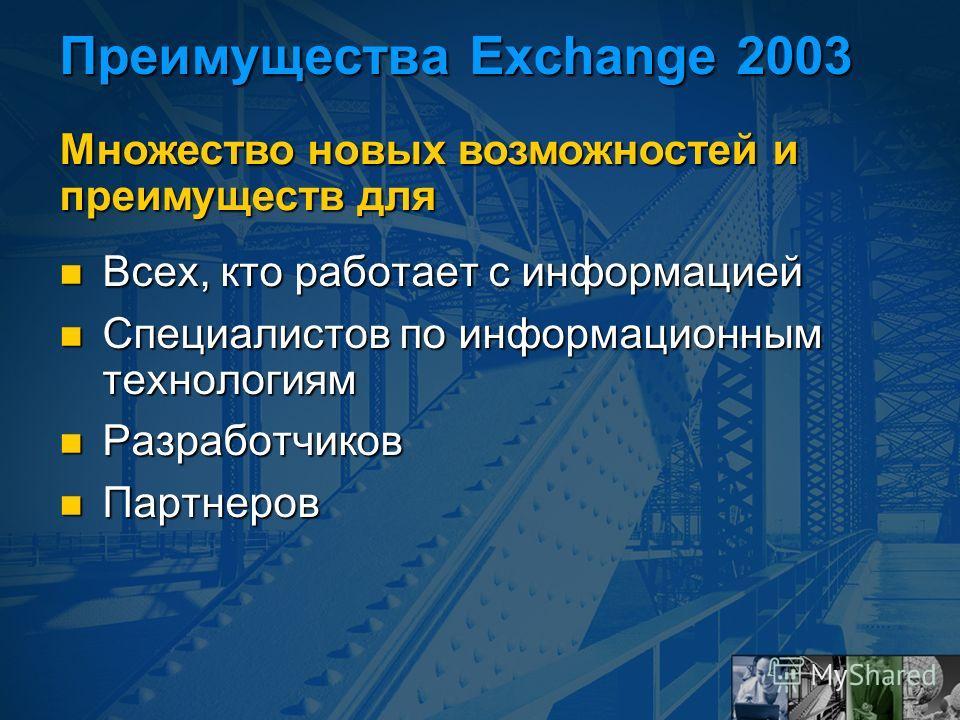 Преимущества Exchange 2003 Всех, кто работает с информацией Всех, кто работает с информацией Специалистов по информационным технологиям Специалистов по информационным технологиям Разработчиков Разработчиков Партнеров Партнеров Множество новых возможн