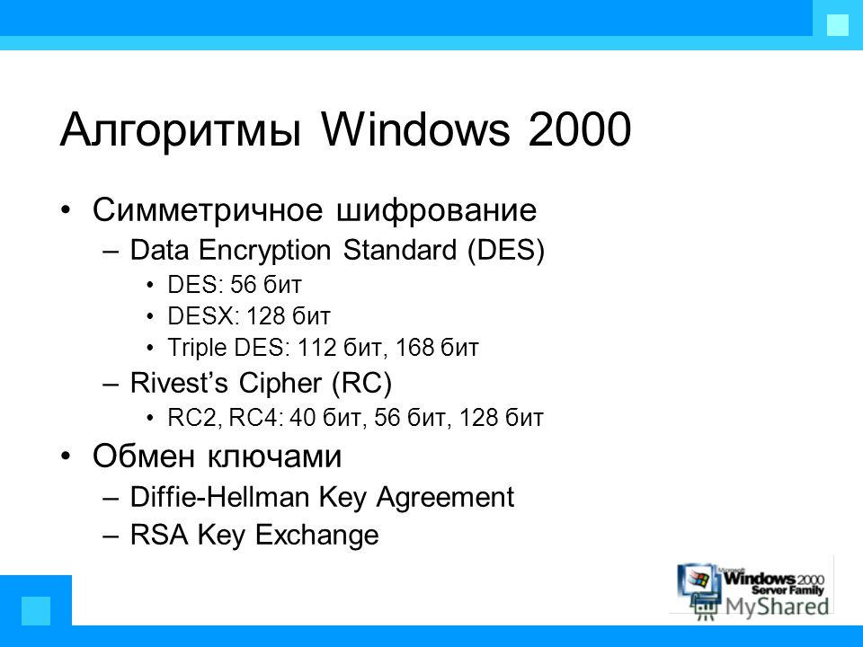 Алгоритмы Windows 2000 Симметричное шифрование –Data Encryption Standard (DES) DES: 56 бит DESX: 128 бит Triple DES: 112 бит, 168 бит –Rivests Cipher (RC) RC2, RC4: 40 бит, 56 бит, 128 бит Обмен ключами –Diffie-Hellman Key Agreement –RSA Key Exchange