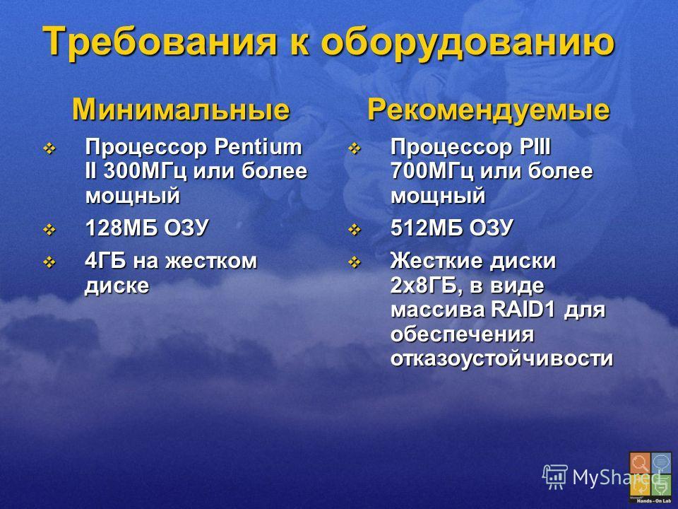 Требования к оборудованию Минимальные Процессор Pentium II 300МГц или более мощный Процессор Pentium II 300МГц или более мощный 128МБ ОЗУ 128МБ ОЗУ 4ГБ на жестком диске 4ГБ на жестком дискеРекомендуемые Процессор PIII 700МГц или более мощный Процессо