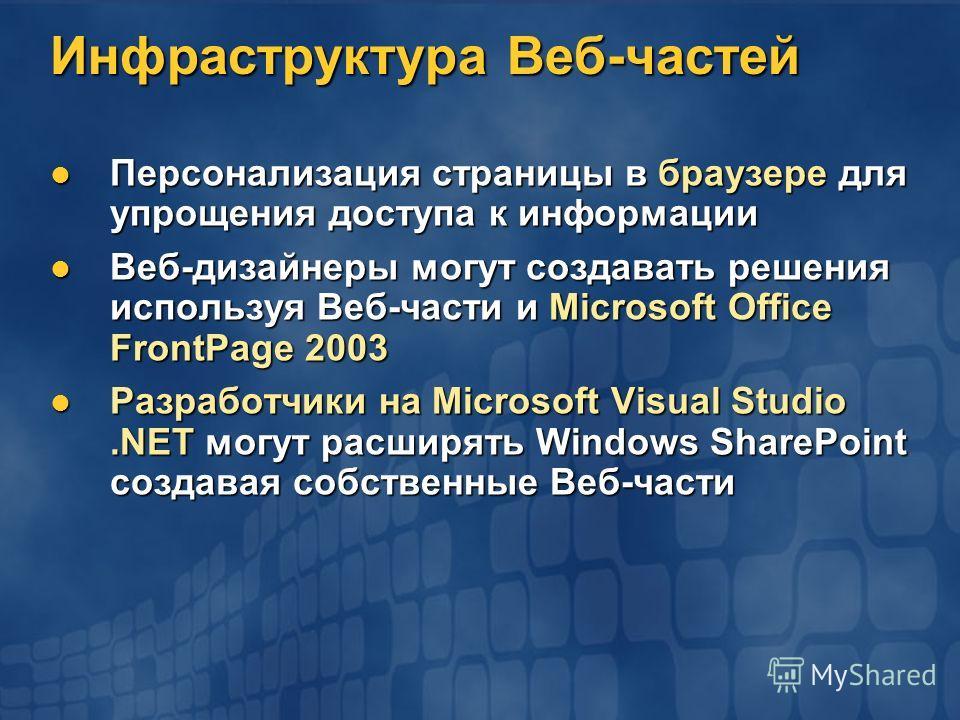 Инфраструктура Веб-частей Персонализация страницы в браузере для упрощения доступа к информации Персонализация страницы в браузере для упрощения доступа к информации Веб-дизайнеры могут создавать решения используя Веб-части и Microsoft Office FrontPa