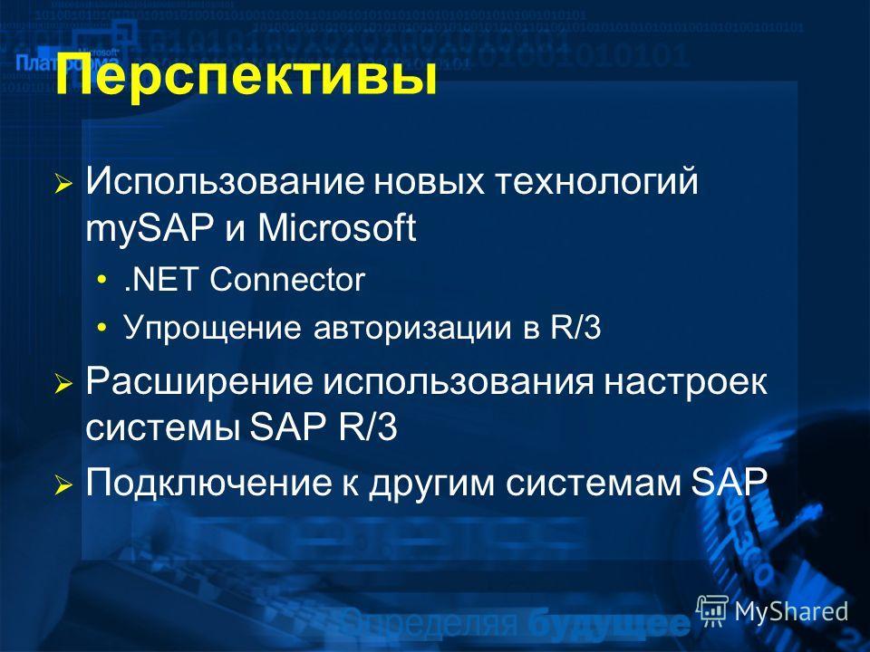 Перспективы Использование новых технологий mySAP и Microsoft.NET Connector Упрощение авторизации в R/3 Расширение использования настроек системы SAP R/3 Подключение к другим системам SAP