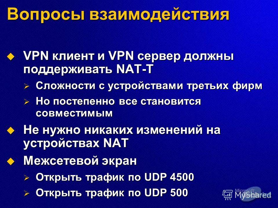 Вопросы взаимодействия VPN клиент и VPN сервер должны поддерживать NAT-T VPN клиент и VPN сервер должны поддерживать NAT-T Сложности с устройствами третьих фирм Сложности с устройствами третьих фирм Но постепенно все становится совместимым Но постепе