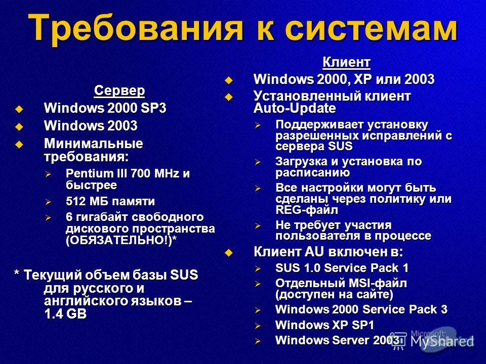 Требования к системам Сервер Windows 2000 SP3 Windows 2000 SP3 Windows 2003 Windows 2003 Минимальные требования: Минимальные требования: Pentium III 700 MHz и быстрее Pentium III 700 MHz и быстрее 512 МБ памяти 512 МБ памяти 6 гигабайт свободного дис