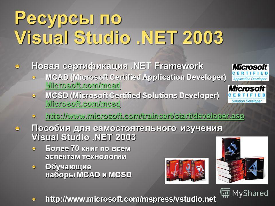 Ресурсы по Visual Studio.NET 2003 Новая сертификация.NET Framework MCAD (Microsoft Certified Application Developer) Microsoft.com/mcad Microsoft.com/mcad MCSD (Microsoft Certified Solutions Developer) Microsoft.com/mcsd Microsoft.com/mcsd http://www.