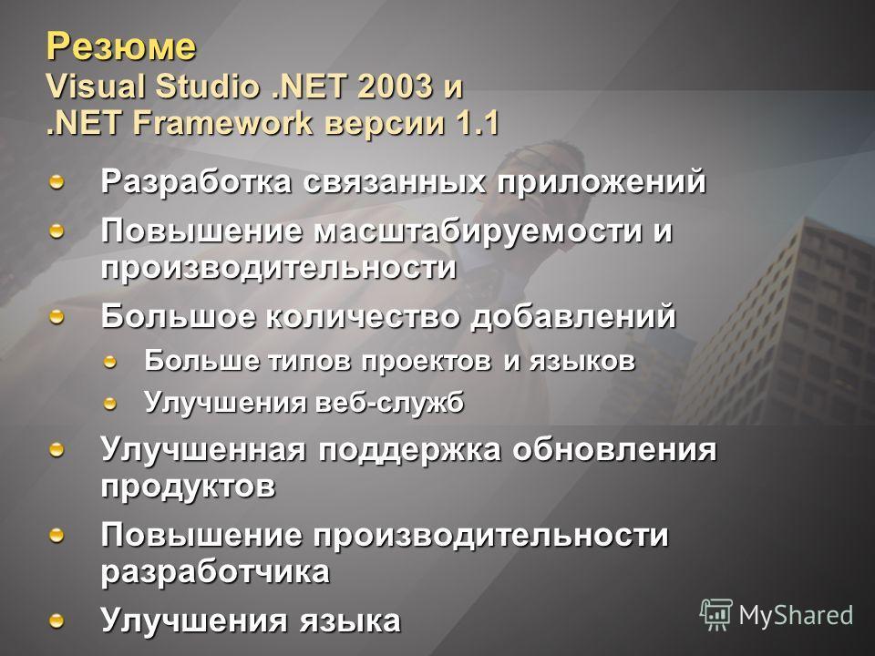 Резюме Visual Studio.NET 2003 и.NET Framework версии 1.1 Разработка связанных приложений Повышение масштабируемости и производительности Большое количество добавлений Больше типов проектов и языков Улучшения веб-служб Улучшенная поддержка обновления