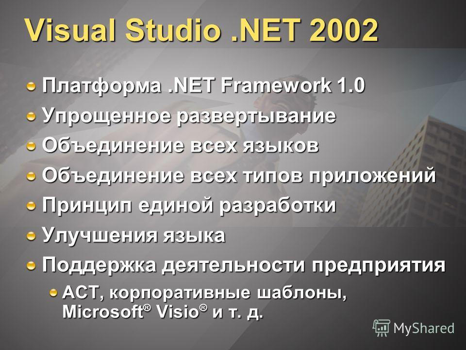 Visual Studio.NET 2002 Платформа.NET Framework 1.0 Упрощенное развертывание Объединение всех языков Объединение всех типов приложений Принцип единой разработки Улучшения языка Поддержка деятельности предприятия ACT, корпоративные шаблоны, Microsoft ®