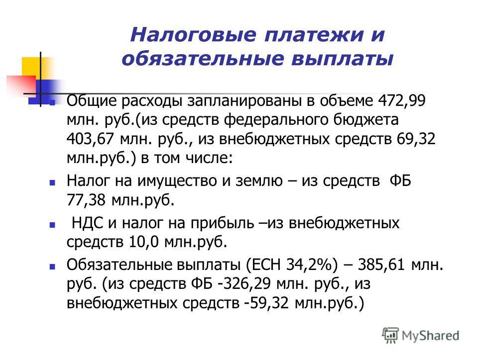 Налоговые платежи и обязательные выплаты Общие расходы запланированы в объеме 472,99 млн. руб.(из средств федерального бюджета 403,67 млн. руб., из внебюджетных средств 69,32 млн.руб.) в том числе: Налог на имущество и землю – из средств ФБ 77,38 млн