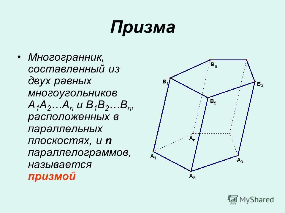 Призма Многогранник, составленный из двух равных многоугольников A 1 A 2 …A n и B 1 B 2 …B n, расположенных в параллельных плоскостях, и n параллелограммов, называется призмой