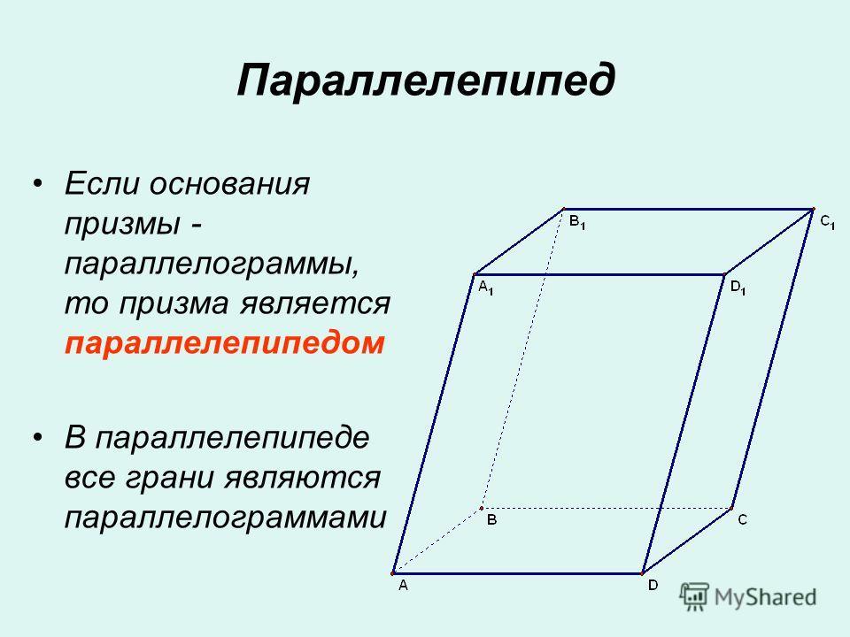 Параллелепипед Если основания призмы - параллелограммы, то призма является параллелепипедом В параллелепипеде все грани являются параллелограммами