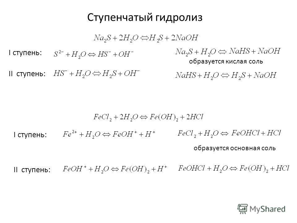 Ступенчатый гидролиз образуется кислая соль I ступень: II ступень: образуется основная соль I ступень: II ступень: