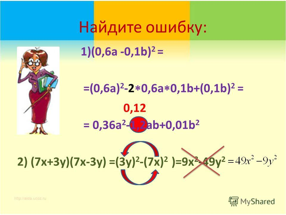 Найдите ошибку: 1)(0,6a -0,1b) 2 = =(0,6a) 2 -2 0,6a 0,1b+(0,1b) 2 = = 0,36a 2 -1,2аb+0,01b 2 2) (7x+3y)(7x-3y) =(3у) 2 -(7х) 2 )=9x 2 -49y 2 0,12