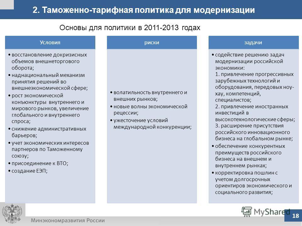 2. Таможенно-тарифная политика для модернизации 18 Основы для политики в 2011-2013 годах Условия восстановление докризисных объемов внешнеторгового оборота; наднациональный механизм принятия решений во внешнеэкономической сфере; рост экономической ко