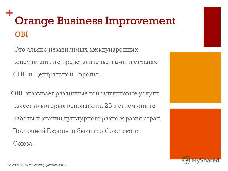 + Orange Business Improvement Это альянс независимых международных консультантов с представительствами в странах СНГ и Центральной Европы. OBI оказывает различные консалтинговые услуги, качество которых основано на 25- летнем опыте работы и знании ку