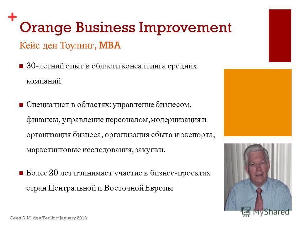 + Orange Business Improvement 30- летний опыт в области консалтинга средних компаний Специалист в областях : управление бизнесом, финансы, управление персоналом, модернизация и организация бизнеса, организация сбыта и экспорта, маркетинговые исследов