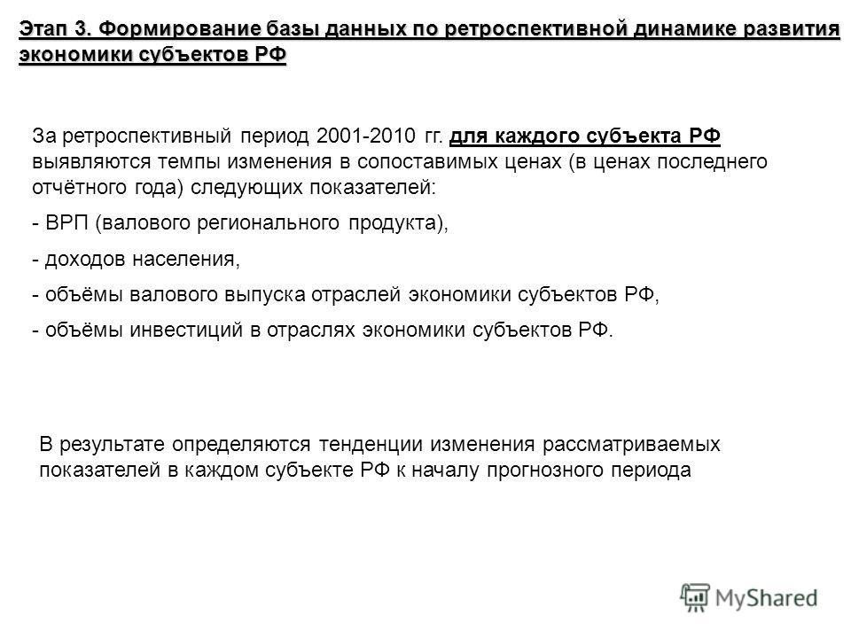 Этап 3. Формирование базы данных по ретроспективной динамике развития экономики субъектов РФ За ретроспективный период 2001-2010 гг. для каждого субъекта РФ выявляются темпы изменения в сопоставимых ценах (в ценах последнего отчётного года) следующих