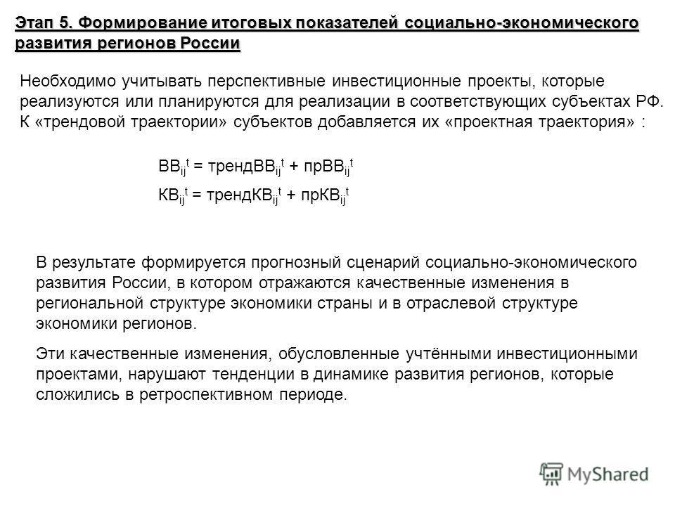 Этап 5. Формирование итоговых показателей социально-экономического развития регионов России Необходимо учитывать перспективные инвестиционные проекты, которые реализуются или планируются для реализации в соответствующих субъектах РФ. К «трендовой тра