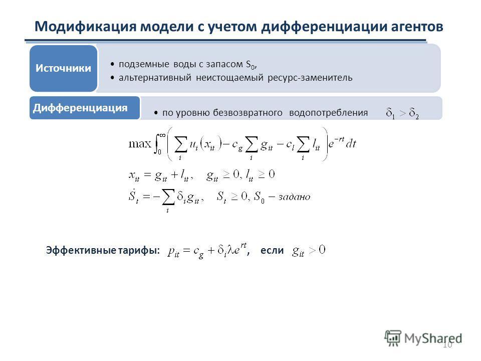 Модификация модели с учетом дифференциации агентов Эффективные тарифы:, если подземные воды с запасом S 0, альтернативный неистощаемый ресурс-заменитель Источники по уровню безвозвратного водопотребления Дифференциация 10